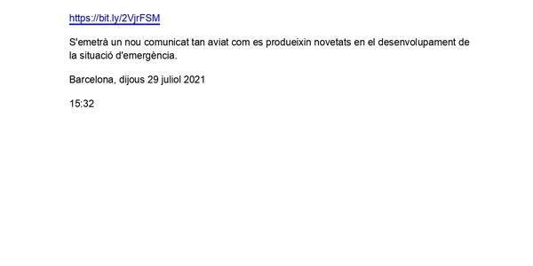 COMUNICAT D'ACTUALITZACIÓ DE LA FASE D'EMERGÈNCIA DEL PROCICAT COVID-19
