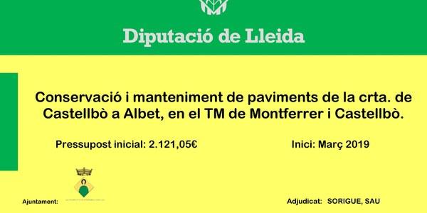 Manteniment de paviment de la crta. de Castellbò a Albet